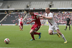 Bristol City's Brendan Moloney fends off Milton Keynes Dons' Luke Chadwick   - Photo mandatory by-line: Nigel Pitts-Drake/JMP - Tel: Mobile: 07966 386802 24/08/2013 - SPORT - FOOTBALL - Stadium MK - Milton Keynes - Milton Keynes Dons V Bristol City - Sky Bet League One