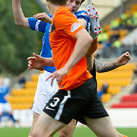 St Johnstone v Dundee United...27.08.11   SPL Week 5<br /> David Robertson gets a kick in the face for a penalty from Johnny Russell<br /> Picture by Graeme Hart.<br /> Copyright Perthshire Picture Agency<br /> Tel: 01738 623350  Mobile: 07990 594431