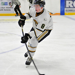WHITBY, ON - Nov 2: Ontario Junior Hockey League game between Cobourg Cougars and Trenton Golden Hawks. Ryan OGrady #8 of the Cobourg Cougars passes the puck during third period game action..(Photo by Shawn Muir / OJHL Images)