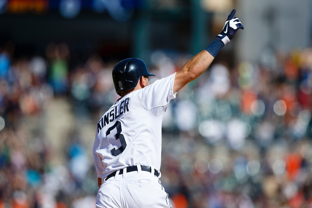 Aug 6, 2015; Detroit, MI, USA; Detroit Tigers second baseman Ian Kinsler (3) celebrates after he hits a walk off two run home run in the ninth inning against the Kansas City Royals at Comerica Park. Detroit won 8-6. Mandatory Credit: Rick Osentoski-USA TODAY Sports