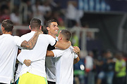 Real Madrid forward Cristiano Ronaldo celebrates victory with team mates at the end of the UEFA Super Cup Final match between Real Madrid and Manchester United at the Philip II Arena, Skopje, Macedonia on 8 August 2017. Photo by Ahmad Morra.