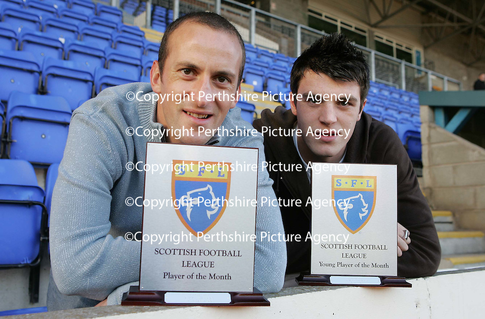 St Johnstone FC's Paul Sheerin who has been named SFL Player of the Month for October pictured at McDiarmid Park with his award along with Craig O'Reilly of East Fife wjho picked up the Young Player of the Month award.<br />
