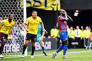 Watford (9) Troy Deeney (captain), Mamadou Sakho of Crystal Palace  during the Premier League match between Watford and Crystal Palace at Vicarage Road, Watford, England on 21 April 2018. Picture by Sebastian Frej.