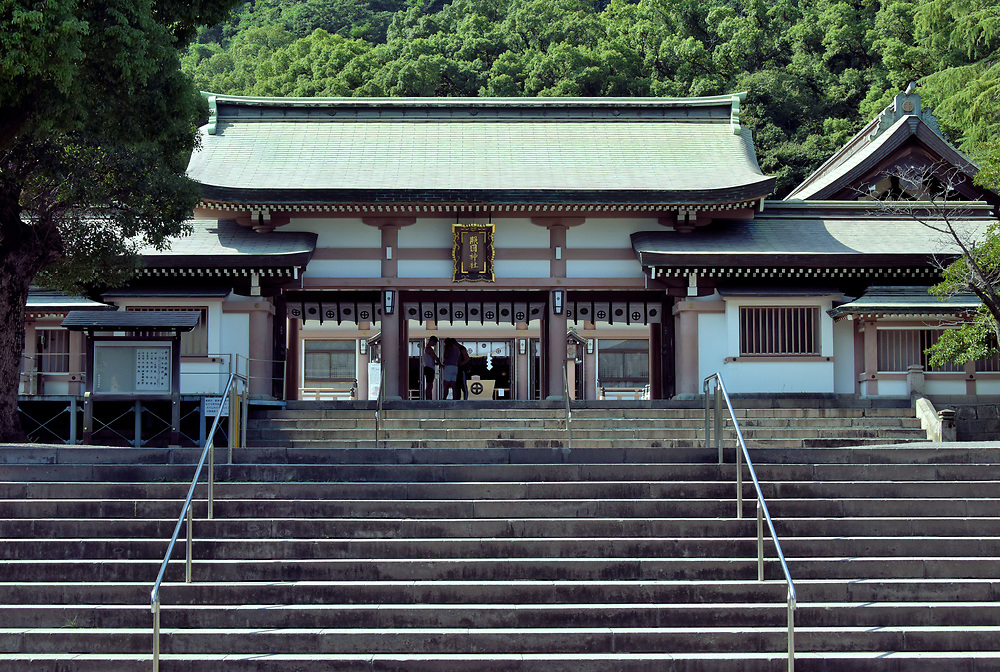 Heiden at Terukuni Shrine in Kagoshima, Japan<br /> When Shimazu Nariakira, a daimyo of the local Shimazu clan, died in nearby Tsurumaru Castle in 1858, the revered leader was deified as a kami (Shinto deity) and renamed Terukuni-daimyōjin by Japan's emperor. Terukuni jinja was then established in his honor. Terukuni Shrine has been rebuilt twice after it was heavily damaged during the Satsuma Rebellion (1877) and World War II. In addition to this hall of worship (heiden), there are several other buildings in the complex including a museum about the nearly four centuries of the Satsuma Domain.