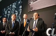Michel Platini attend at opening of Turku-European Capital of Culture 2011. after his speech he answered to questions by journalist and audience. January 14th, 2011, Turku, Finland. .(L-R  Sauli Niinist, Stefan Wallin, Michel Platini)