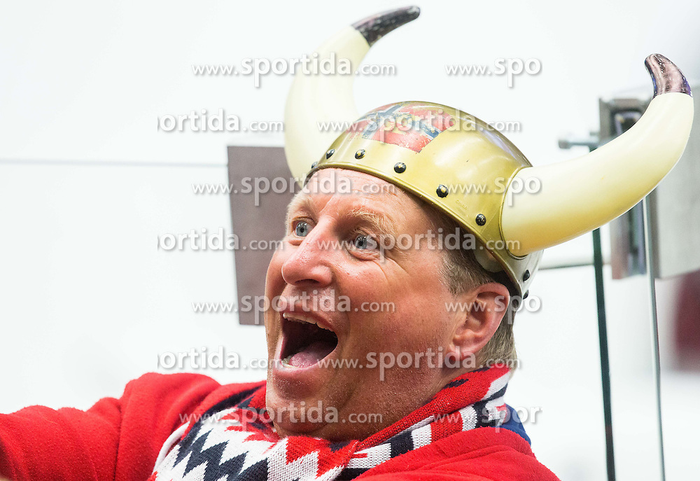 Fan of Norway during Ice Hockey match between Slovakia and Norway at Day 6 in Group B of 2015 IIHF World Championship, on May 6, 2015 in CEZ Arena, Ostrava, Czech Republic. Photo by Vid Ponikvar / Sportida
