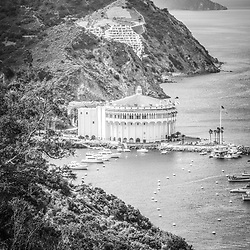 Catalina Island Casino black and white aerial picture. The Catalina Casino is on Santa Catalina Island in Avalon California.