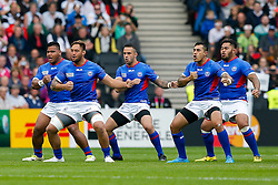 Samoa replacement Jack Lam performs the Manu Siva Tau - Mandatory byline: Rogan Thomson/JMP - 07966 386802 - 03/10/2015 - RUGBY UNION - Stadium:mk - Milton Keynes, England - Samoa v Japan - Rugby World Cup 2015 Pool B.