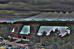 04 October 2014: An artistic 3 shot HDR view of Redbird Areana from the top of the West Hancock Stadium stands during an NCAA FCS Missouri Valley Football Conference game between the South Dakota State Jackrabbits and the Illinois State University Redbirds at Hancock Stadium in Normal Illinois<br /> <br /> This image was produced in part utilizing High Dynamic Range (HDR) or panoramic stitching or other computer software manipulation processes. It should not be used editorially without being listed as an illustration or with a disclaimer. It may or may not be an accurate representation of the scene as originally photographed and the finished image is the creation of the photographer.