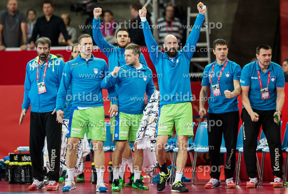 Veselin Vujovic, head coach of Slovenia, Vid Poteko of Slovenia, Gasper Marguc of Slovenia and Vid Kavticnik of Slovenia react during handball match between National teams of Germany and Slovenia on Day 6 in Preliminary Round of Men's EHF EURO 2016, on January 20, 2016 in Centennial Hall, Wroclaw, Poland. Photo by Vid Ponikvar / Sportida