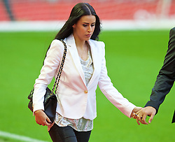 LIVERPOOL, ENGLAND - Sunday, November 8, 2015: Amy Jaine, partner of Liverpool's Jose Enrique, arrives at Anfield ahead of the Premier League match against Crystal Palace. (Pic by David Rawcliffe/Propaganda)