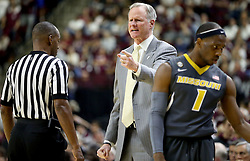 Missouri head coach Kim Anderson argues a call during the first half of an NCAA college basketball game against Texas A&M, Saturday, Jan. 23, 2016, in College Station, Texas.  (AP Photo/Sam Craft)