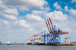 View of container terminal at Burchardkai Port of Hamburg on River Elbe in Germany