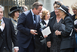 © Licensed to London News Pictures. 03/05/2016. LONDON, UK.  DAVID CAMERON and family members leaving a service of Thanksgiving for the life and work of former Chancellor of the Exchequer, Rt Hon The Lord Geoffrey Howe of Aberavon CH PC QC at St Margaret's Church, Westminster Abbey.  Photo credit: Vickie Flores/LNP