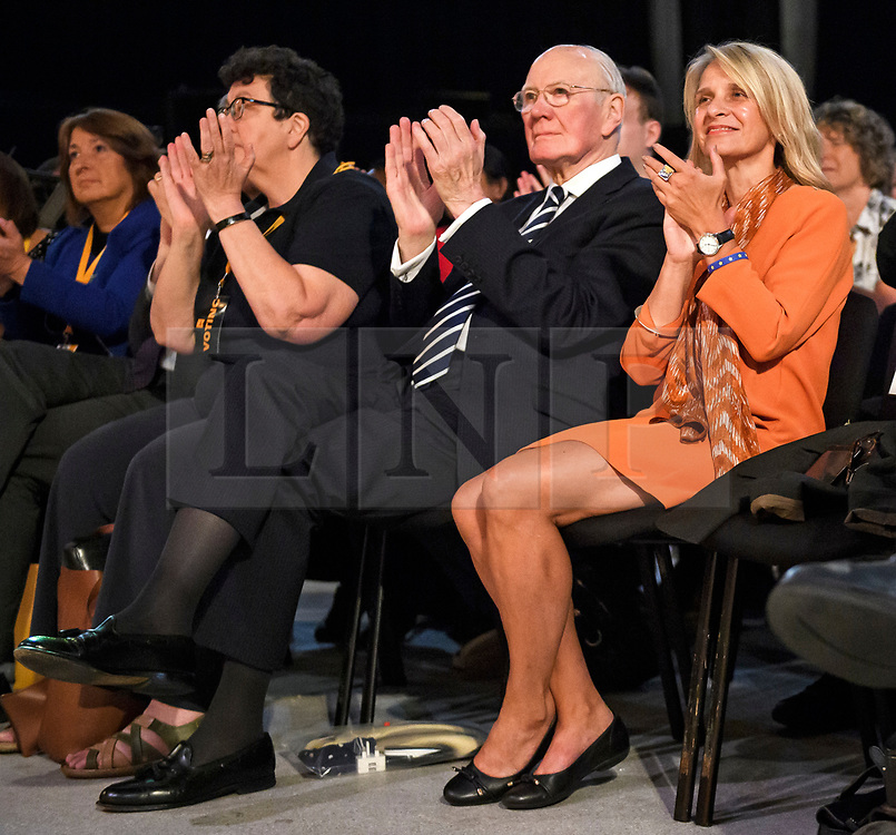 © Licensed to London News Pictures. 18/09/2018. Brighton, UK. Former party leader MENZIES CAMPBELL (centre)  (left) attends the final day of the Liberal Democrat Autumn Conference in Brighton, East Sussex on September 18, 2018. This years event has been mainly focused around Brexit, the UK's departure from the EU. Photo credit: Ben Cawthra/LNP