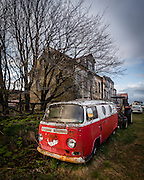 This abandoned red VW camper is one of the many abandoned vehicles at Holmur