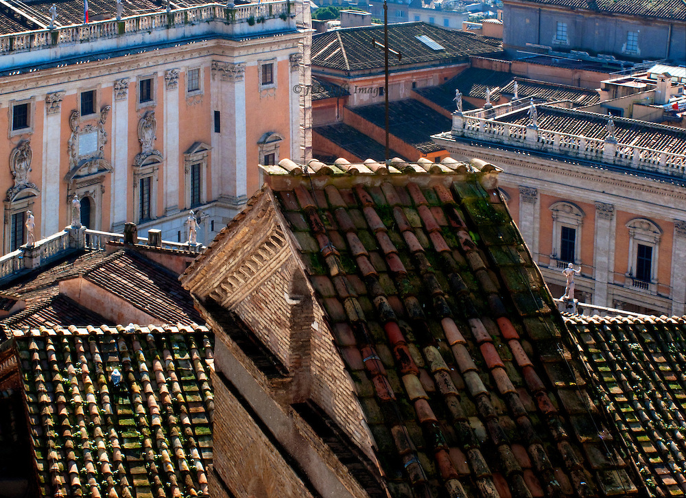 View from the top of the Vittoriale across the roofs of the church, and facades of the Senatorio and Capitoline Museum.  Graphic composition of angles and parallels.