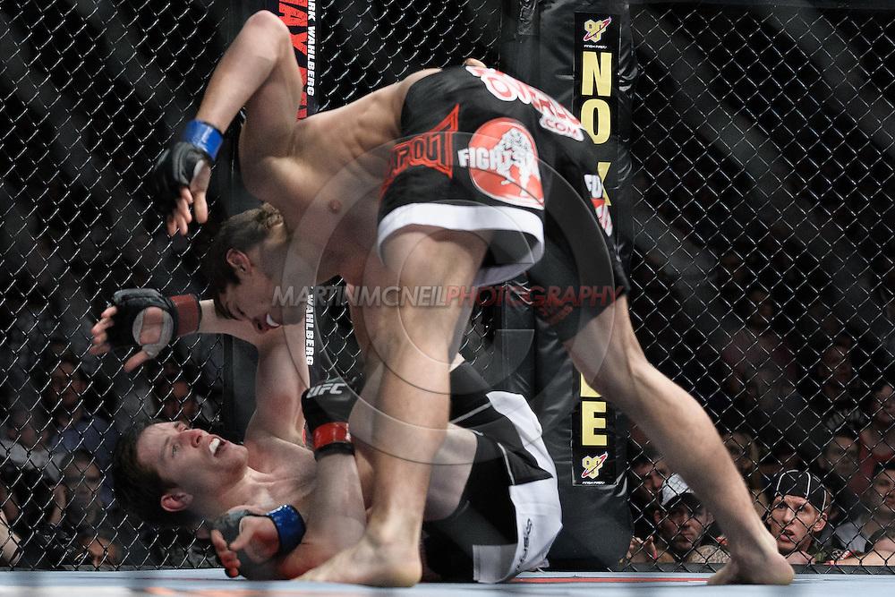 "DUBLIN, IRELAND, JANUARY 17, 2009: John Hathaway (top) and Tom Egan during ""UFC 93: Franklin vs. Henderson"" inside the O2 Arena in Dublin, Ireland"