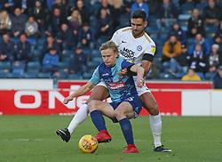 Ryan Tafazolli of Peterborough United in action with Alex Samuel of Wycombe Wanderers - Mandatory by-line: Joe Dent/JMP - 03/11/2018 - FOOTBALL - Adam's Park - High Wycombe, England - Wycombe Wanderers v Peterborough United - Sky Bet League One