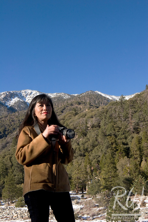 Female Photographer at Forest Falls, San Bernardino National Forest, California