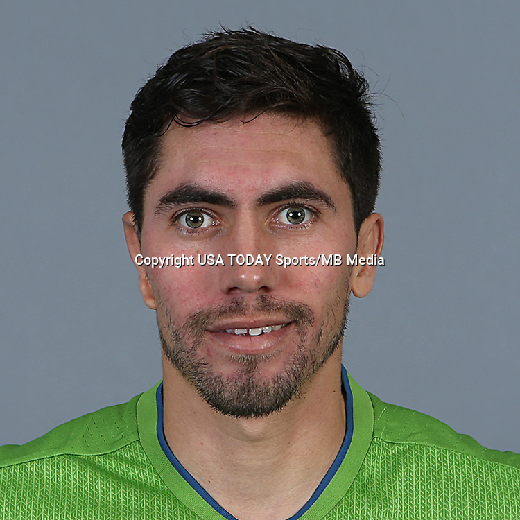 Feb 25, 2016; USA; Seattle Sounders FC player Michael Farfan poses for a photo. Mandatory Credit: Corky Trewin-USA TODAY Sports