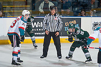 KELOWNA, CANADA - JANUARY 23: Dustin Minty, linesman, prepares to drop the puck between the Kelowna Rockets and the Everett Silvertips on January 23, 2015 at Prospera Place in Kelowna, British Columbia, Canada.  (Photo by Marissa Baecker/Shoot the Breeze)  *** Local Caption *** Dustin Minty; official; linesman;