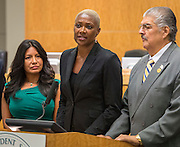 Houston ISD Trustee Jolanda Jones comments after the Board voted unanimously to name Richard Carranza the sole finalist for the position of Superintendent, July 27, 2016.