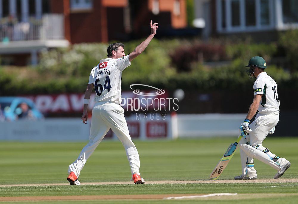 Steve Magoffin takes the wicket of Jack Shantry during day 3 of the LV County Championship Div 1 match between Sussex County Cricket Club and Worcestershire County Cricket Club at the BrightonandHoveJobs.com County Ground, Hove, United Kingdom on 21 April 2015.