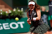 Paris, France - 2017 June 01: Agnieszka Radwanska from Poland plays a backhand during her women's single match second round during tennis Grand Slam tournament The French Open 2017 (also called Roland Garros) at Stade Roland Garros on June 01, 2017 in Paris, France.<br /> <br /> Mandatory credit:<br /> Photo by &copy; Adam Nurkiewicz<br /> <br /> Adam Nurkiewicz declares that he has no rights to the image of people at the photographs of his authorship.<br /> <br /> Picture also available in RAW (NEF) or TIFF format on special request.<br /> <br /> Any editorial, commercial or promotional use requires written permission from the author of image.