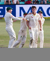 Durban. 040318.  Australia celebrates the wicket of Aiden Markram of the Proteas during day 4 of the 1st Sunfoil Test match between South Africa and Australia at Sahara Stadium Kingsmead on March 04, 2018 in Durban, South Africa. Picture Leon Lestrade/African News Agency/ANA