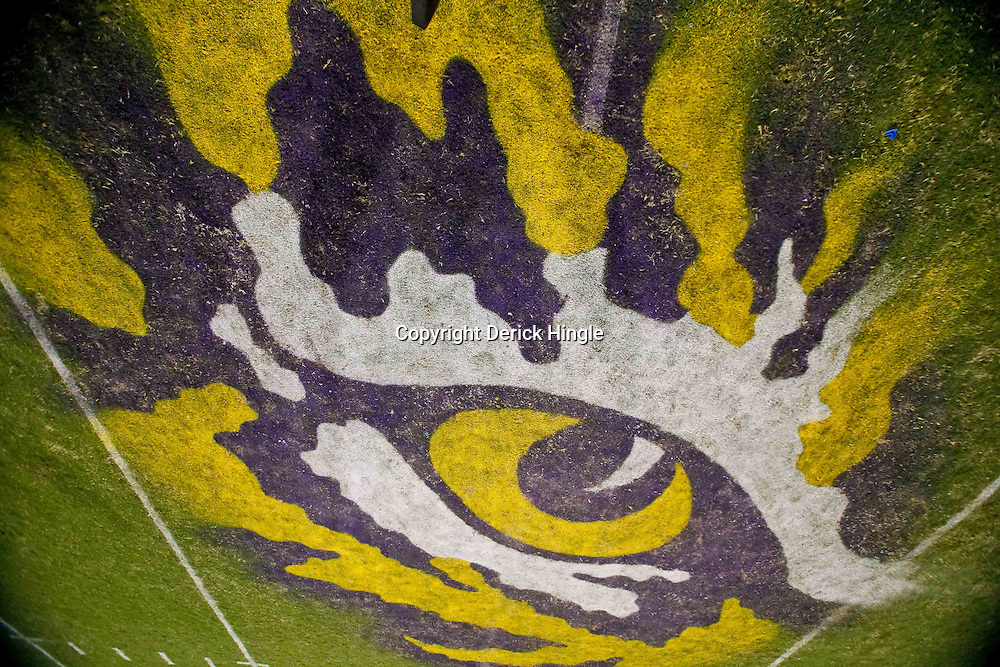 October 16, 2010; Baton Rouge, LA, USA; A general view of the eye of the tiger logo at the 50-yardline following a win by the LSU Tigers over the McNeese State Cowboys at Tiger Stadium. LSU defeated McNeese State 32-10. Mandatory Credit: Derick E. Hingle