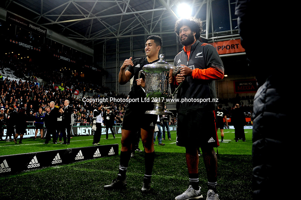 Rieko Ioane and Akira Ioane pose for a photo, New Zealand All Blacks v Australia, Rugby Championship test match, Forsyth Barr stadium, Dunedin, New Zealand. 26 August 2017. Copyright Image: Joe Allison / www.photosport.nz