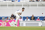 Jack Brooks of Yorkshire bowling during the Specsavers County C'ship Div One match at the Kia Oval, London<br /> Picture by Simon Dael/Focus Images Ltd 07866 555979<br /> 11/05/2018