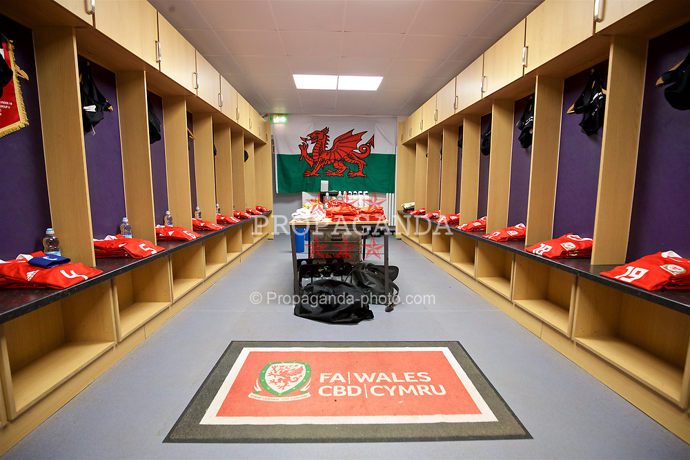 RHYL, WALES - Wednesday, November 14, 2018: The Wales dressing room before the UEFA Under-19 Championship 2019 Qualifying Group 4 match between Wales and Scotland at Belle Vue. (Pic by Paul Greenwood/Propaganda)