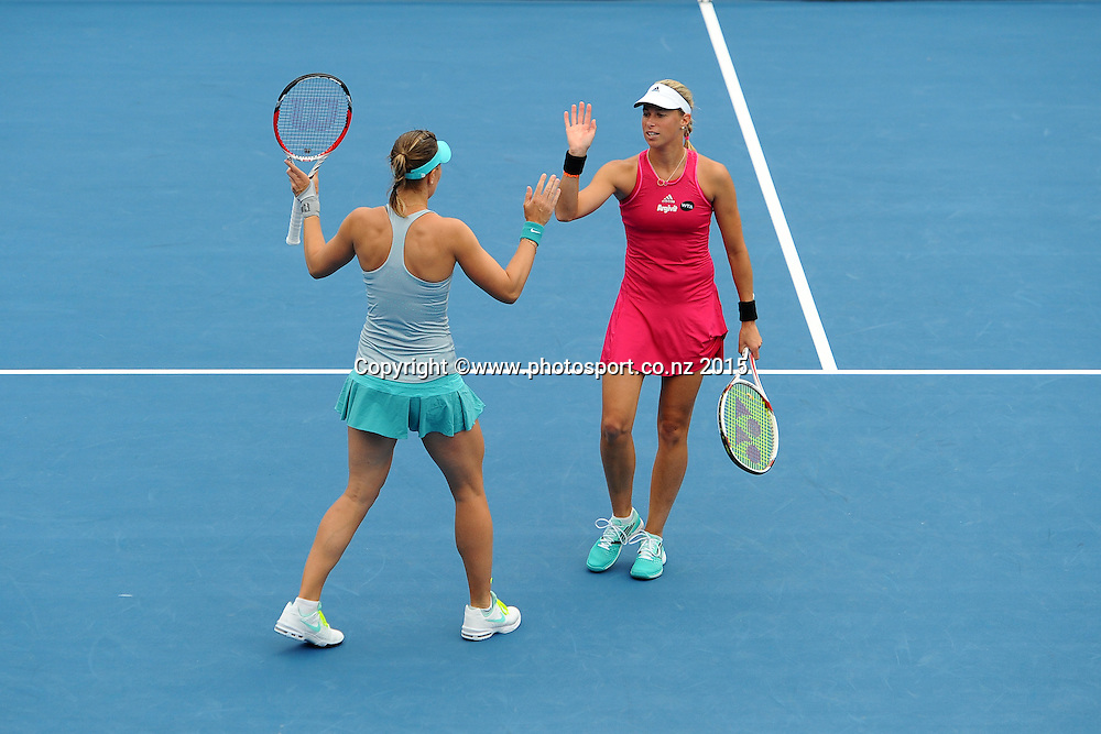Czech Republic player Andrea Hlavackova and Lucie Hradecka during thier doubles Quarter Finals of the ASB Classic Women's International. ASB Tennis Centre, Auckland, New Zealand. Thursday 8 January 2015. Copyright photo: Chris Symes/www.photosport.co.nz