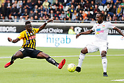 GOTHENBURG, SWEDEN - APRIL 14: Alhassan Kamara of BK Hacken and Kebba Ceesay of Dalkurd FF during the Allsvenskan match between BK Hacken and Dalkurd FF at Bravida Arena on April 14, 2018 in Gothenburg, Sweden. Photo by Nils Petter Nilsson/Ombrello ***BETALBILD***