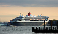 New York, NY:  October 4, 2008--- The Queen Mary 2  a transatlantic ocean liner in the Cunard line passes through New York Harbor.  © Audrey C. Tiernan