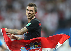 MOSCOW, July 11, 2018  Mario Mandzukic of Croatia celebrates victory after the 2018 FIFA World Cup semi-final match between England and Croatia in Moscow, Russia, July 11, 2018. Croatia won 2-1 and advanced to the final. (Credit Image: © Cao Can/Xinhua via ZUMA Wire)
