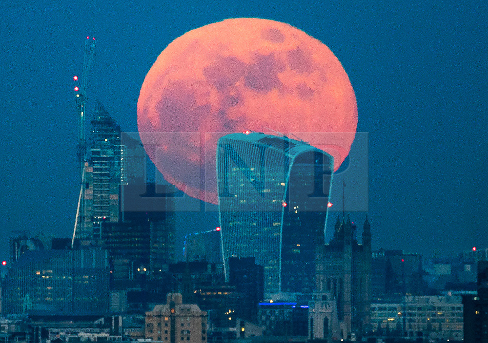 © Licensed to London News Pictures. 31/01/2018. London, UK. A  full blue supermoon rises behind 20 Fenchurch Street, known as the Walkie-Talkie bulding, as it rises over central London. Two full moons in the same calendar month is also know as a blue moon. Photo credit: Peter Macdiarmid/LNP