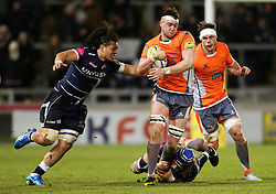 TJ Ioane of Sale Sharks chases Sean Robinson of Newcastle Falcons - Mandatory by-line: Matt McNulty/JMP - 10/02/2017 - RUGBY - AJ Bell Stadium - Sale, England - Sale Sharks v Newcastle Falcons - Aviva Premiership