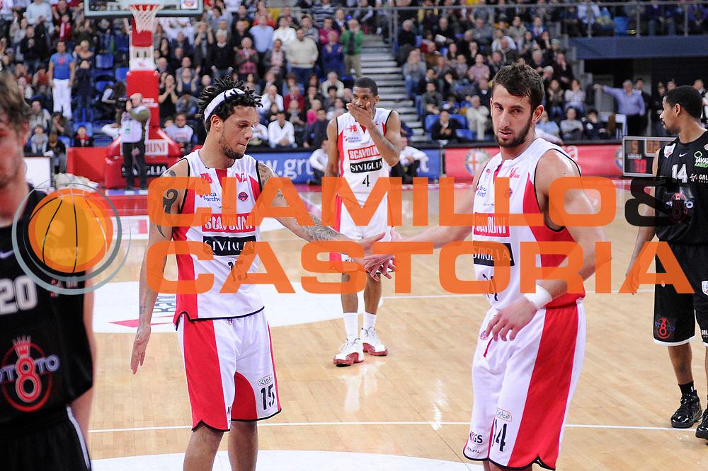 DESCRIZIONE : Pesaro Lega A 2011-12 Scavolini Siviglia Pesaro Otto Caserta <br /> GIOCATORE : Daniel Hackett Simone Flamini<br /> CATEGORIA : esultanza<br /> SQUADRA : Scavolini Siviglia Pesaro<br /> EVENTO : Campionato Lega A 2011-2012<br /> GARA : Scavolini Siviglia Pesaro Otto Caserta<br /> DATA : 04/03/2012<br /> SPORT : Pallacanestro<br /> AUTORE : Agenzia Ciamillo-Castoria/C.De Massis<br /> Galleria : Lega Basket A 2011-2012<br /> Fotonotizia : Pesaro Lega A 2011-12 Scavolini Siviglia Pesaro Otto Caserta<br /> Predefinita :