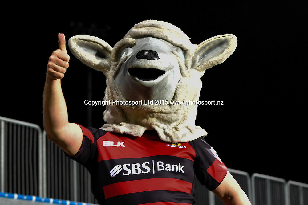 The Canterbury Lamb during the ITM Cup rugby match, Canterbury v Hawke's Bay, at AMI Stadium, Christchurch, on the 12th September 2015. Copyright Photo: John Davidson / www.photosport.nz