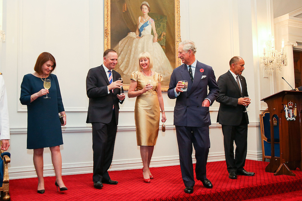 Prince Charles, Prince of Wales, enjoys a laugh with Bronagh Key, Prime Minister John Key, Lady Janine Mateparae and Governor-General Sir Jerry Mateparae during a State Reception at Government House, Wellington, New Zealand, Wednesday, November 04, 2015. Credit:SNPA / Getty, Hagen Hopkins **POOL**