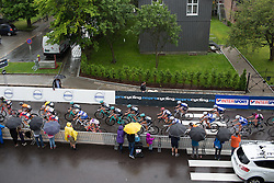 The peloton chases Brand near the end of the 97,1 km second stage of the 2016 Ladies' Tour of Norway women's road cycling race on August 13, 2016 between Mysen and Sarpsborg, Norway. (Photo by Balint Hamvas/Velofocus)
