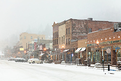 """Downtown Truckee 41"" - Photograph of historic Downtown Truckee, California shot during a snow storm."