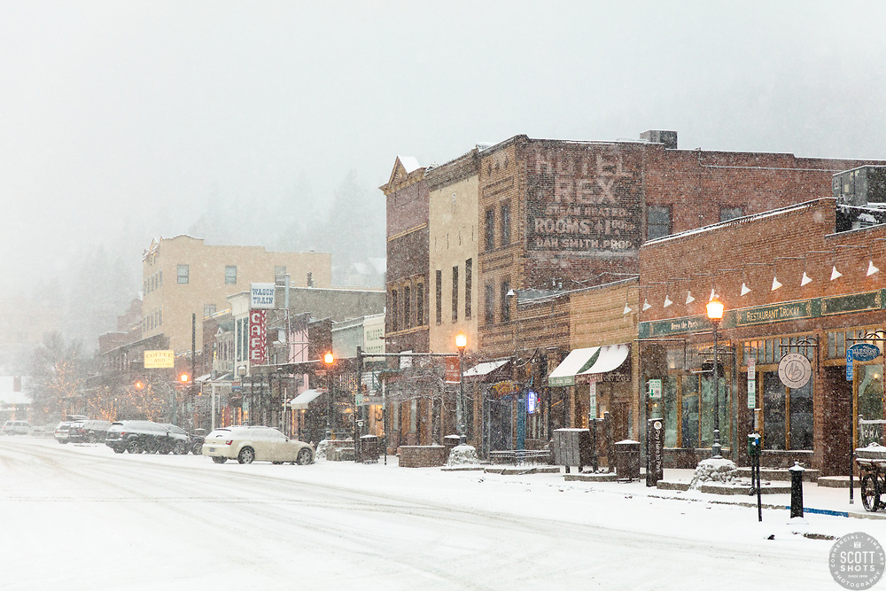 """""""Downtown Truckee 41"""" - Photograph of historic Downtown Truckee, California shot during a snow storm."""