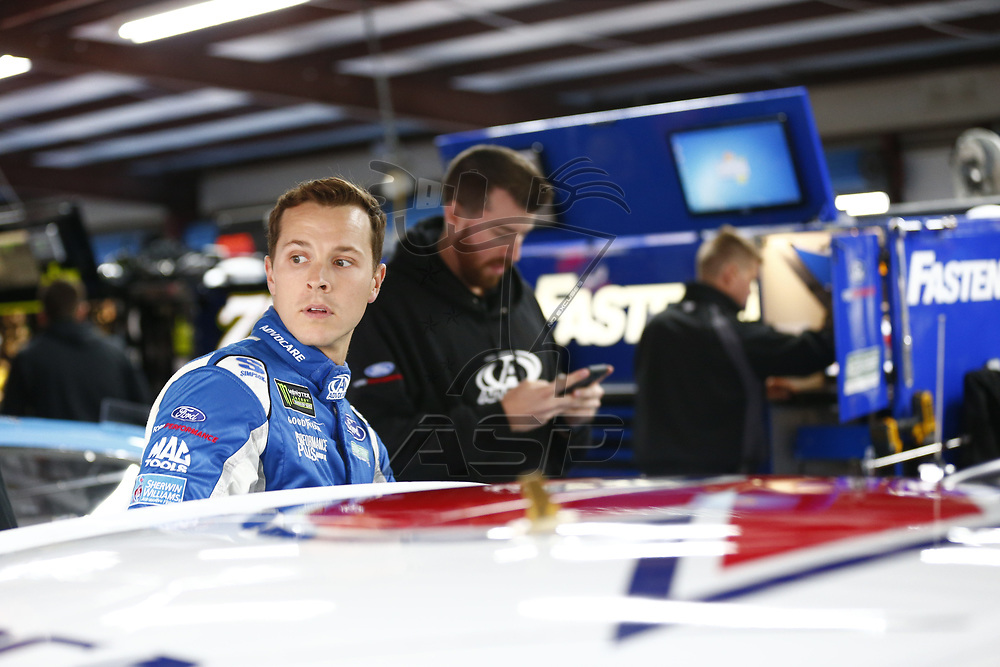 May 05, 2017 - Talladega, Alabama, USA: Trevor Bayne (6) hangs out in the garage during practice for the GEICO 500 at Talladega Superspeedway in Talladega, Alabama.