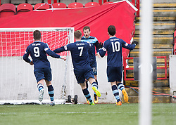 Forfar Athletic's Danny Denholm (11) cele scoring their goal. half time : Clyde 0 v 1 Forfar Athletic, Scottish League Two game played 4/3/2017 at Clyde's home ground, Broadwood Stadium, Cumbernauld.