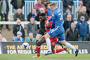 Scott Harrison (Hartlepool United) and Jabo Ibehre (Carlisle United) fight for the ball during the EFL Sky Bet League 2 match between Hartlepool United and Carlisle United at Victoria Park, Hartlepool, England on 14 April 2017. Photo by Mark P Doherty.