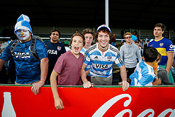 Argentina supporters celebrate victory in the match - Mandatory byline: Rogan Thomson/JMP - 07966 386802 - 25/09/2015 - RUGBY UNION - Kingsholm Stadium - Gloucester, England - Argentina v Georgia - Rugby World Cup 2015 Pool C.